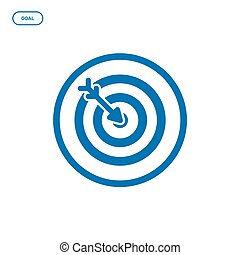Vector illustration of flat line target icon. Graphic design concept of startup success.