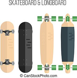 Vector Illustration of flat skateboard and longboard