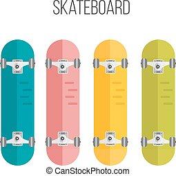 Vector Illustration of flat skateboards isolated on white background