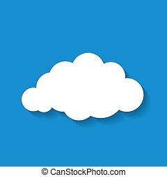 Vector illustration of flat  white paper cloud on blue sky backg