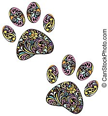 animal paw print on white background - vector illustration...