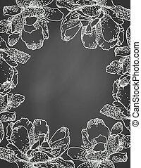 Vector illustration of floral frame on chalkboard.