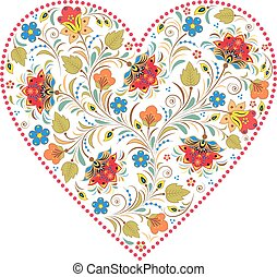 heart with traditional russian pattern