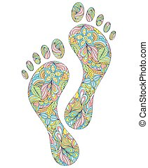 Vector illustration of floral human footprints on white background.