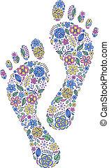 floral human footprints