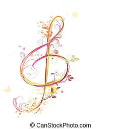 Vector illustration of floral music abstract background with Treble clef