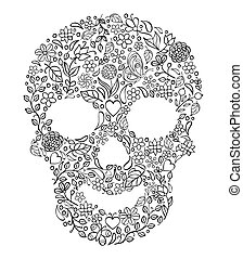 floral skull on white background - Vector Illustration of...