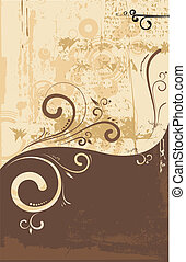 floral swirly ornament - Vector illustration of floral...