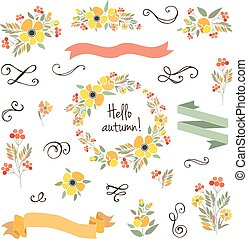 "Signature ""Hello autumn"" with red, brown and orange flowers and herbs"