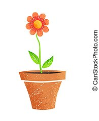 Vector illustration of flower in pot