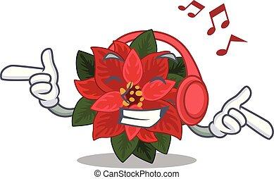 Vector illustration of flower poinsettia cartoon style Listening music
