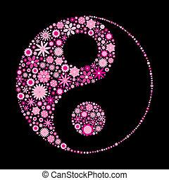 flower ying yang - vector illustration of flower ying yang