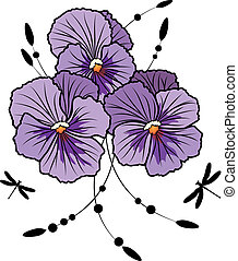 vector illustration of flowers of violet pansies and dragonflies (EPS 10 )