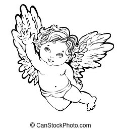 angel - Vector illustration of flying angel or cupid