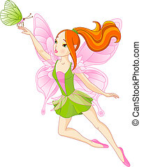 Beautiful fairy and butterfly - Vector illustration of...
