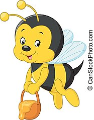 flying Bee cartoon holding honey bu - Vector illustration of...