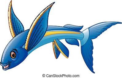 Flying Fish Cartoon Character