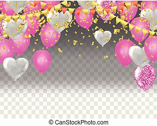 Vector Illustration of Flying Heart Balloons
