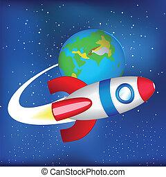 flying spaceship in space