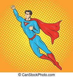 Vector illustration of flying up superman in retro pop art comic style. Superhero, savior of the world from injustice.