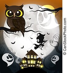 flying young witch - Vector illustration of flying young...