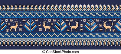 Vector illustration of folk seamless pattern ornament. Ethnic New Year green ornament with pine trees and deers. Cool ethnic border element for your designs