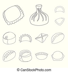 Vector illustration of food and dish logo. Set of food and cooking stock symbol for web.