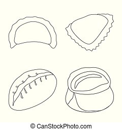 Vector illustration of food and dish sign. Collection of food and cooking stock symbol for web.