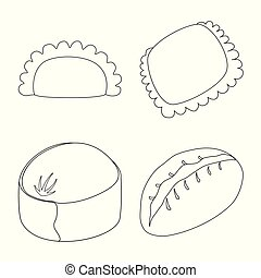 Vector illustration of food and dish sign. Set of food and cooking stock symbol for web.