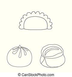 Vector illustration of food and dish symbol. Collection of food and cooking stock symbol for web.