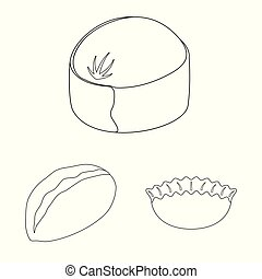 Vector illustration of food and dish symbol. Set of food and cooking stock symbol for web.