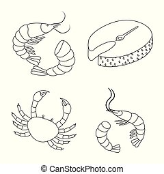 Vector illustration of food and sea icon. Collection of food and healthy stock symbol for web.