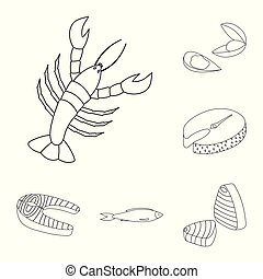 Vector illustration of food and sea icon. Set of food and healthy stock symbol for web.