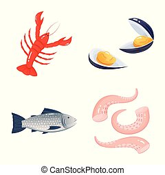 Vector illustration of food and sea sign. Set of food and healthy stock symbol for web.