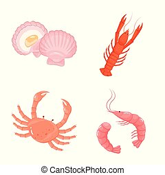Vector illustration of food and sea symbol. Set of food and healthy stock symbol for web.
