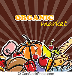 vector illustration of food. organic food concept