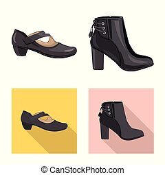 Vector illustration of footwear and woman icon. Collection of footwear and foot stock vector illustration.