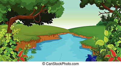 forest background with river