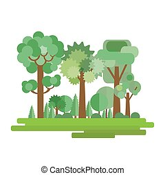 Vector illustration of forest in a flat style isolated on white background. Set of trees and shrubs. EPS10.