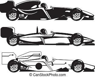 vector illustration of formula 1. three sports racing car.