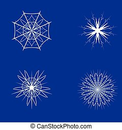 Christmas and New Year snowflakes on a blue