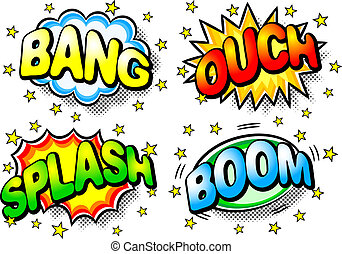 vector illustration of four colorful effect bubbles with bang, ouch, splash, boom