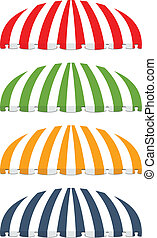 four different colored vector awnings - vector illustration...