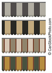 vector awnings - vector illustration of four different...
