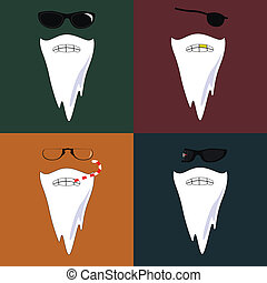 Vector illustration of four face with beard