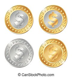 vector illustration of four gold and silver coins
