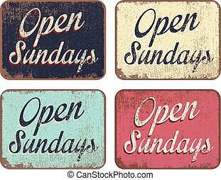 """Vector illustration of four isolated """"Open Sundays"""" boards in different colors"""