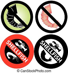 No Shellfish Sign - Vector Illustration of four No Shellfish...
