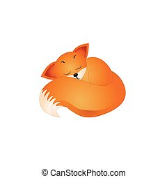 Vector illustration of Fox isolated on white background.