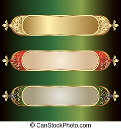 vector illustration of frames with a gold rim and place for text